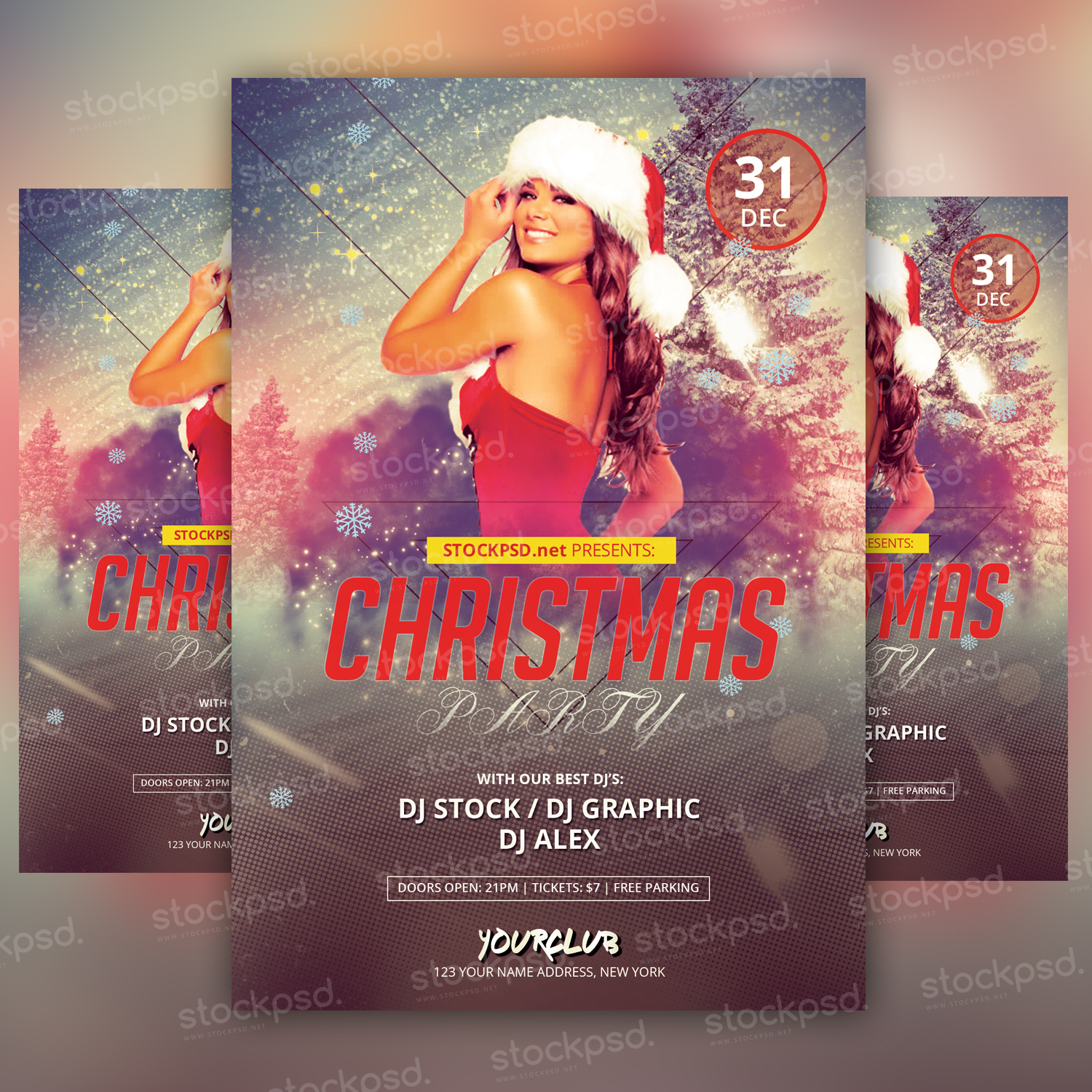 christmas party psd flyer net let s welcome christmas together
