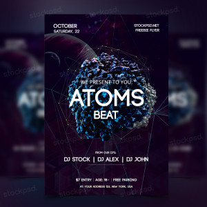 Atoms Beat – FREE PSD Futuristic Flyer
