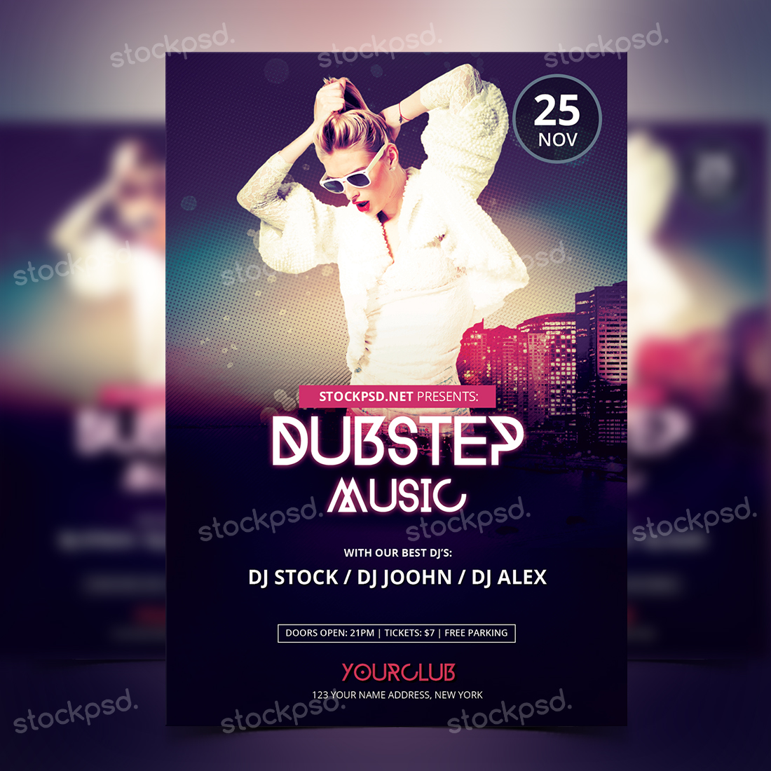 dubstep music free psd party flyer stockpsd