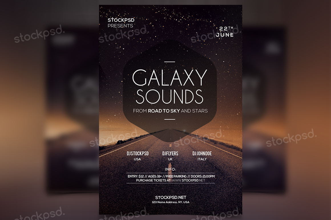 Stockpsd.net | Galaxy Sounds - PSD Freebie Flyer - Stockpsd.net