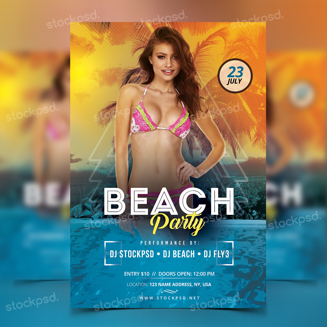 Beach Party – Free PSD Flyer Template
