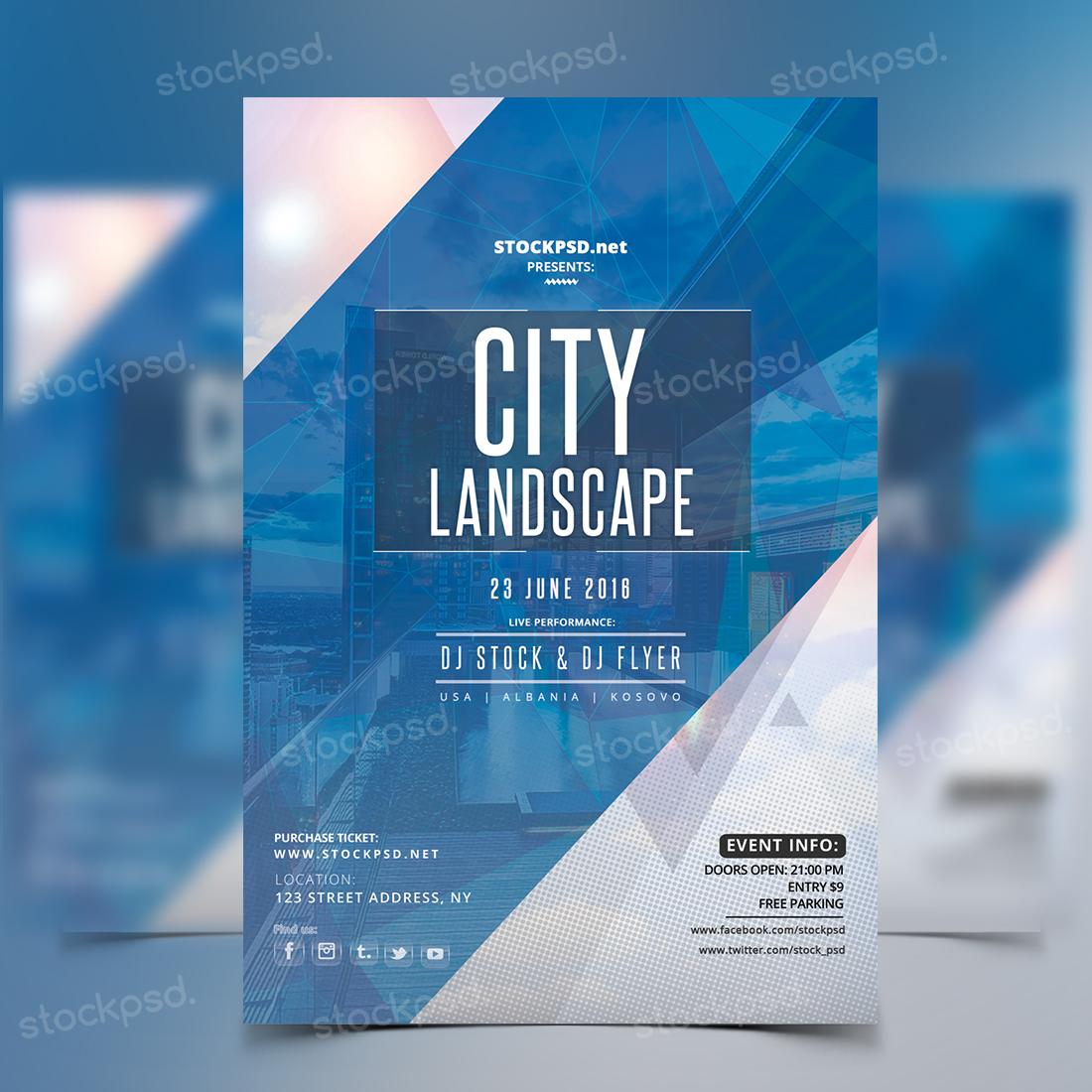 City Landscape – Free Party PSD Flyer
