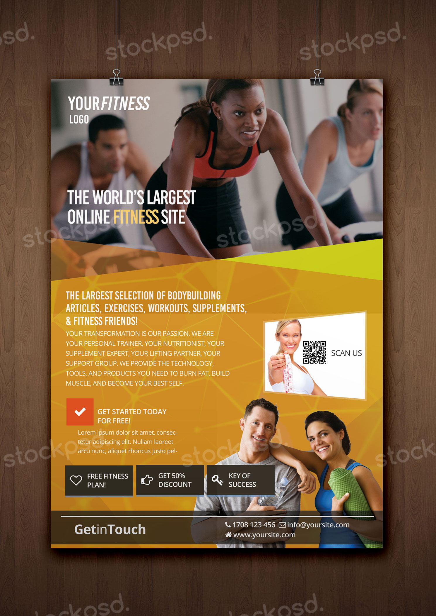 fitness gym health free psd flyer template free psd flyers brochures and more. Black Bedroom Furniture Sets. Home Design Ideas
