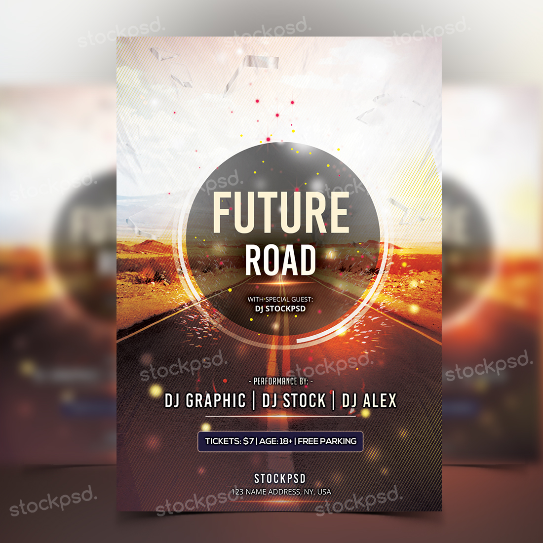 future road psd flyer template stockpsd net your