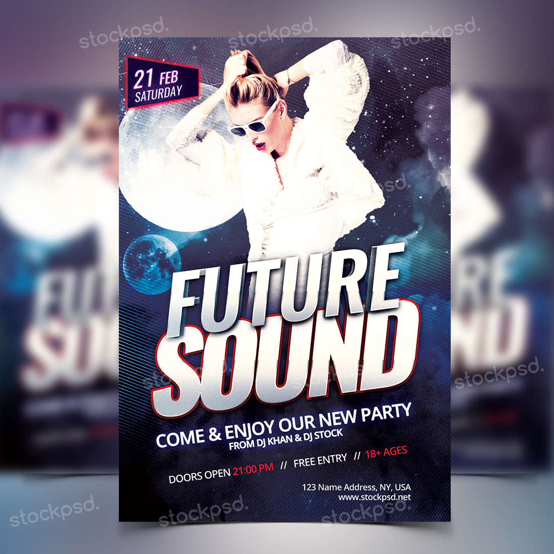 Stockpsd.net | Future Sound Party - FREE PSD Flyer Template ...