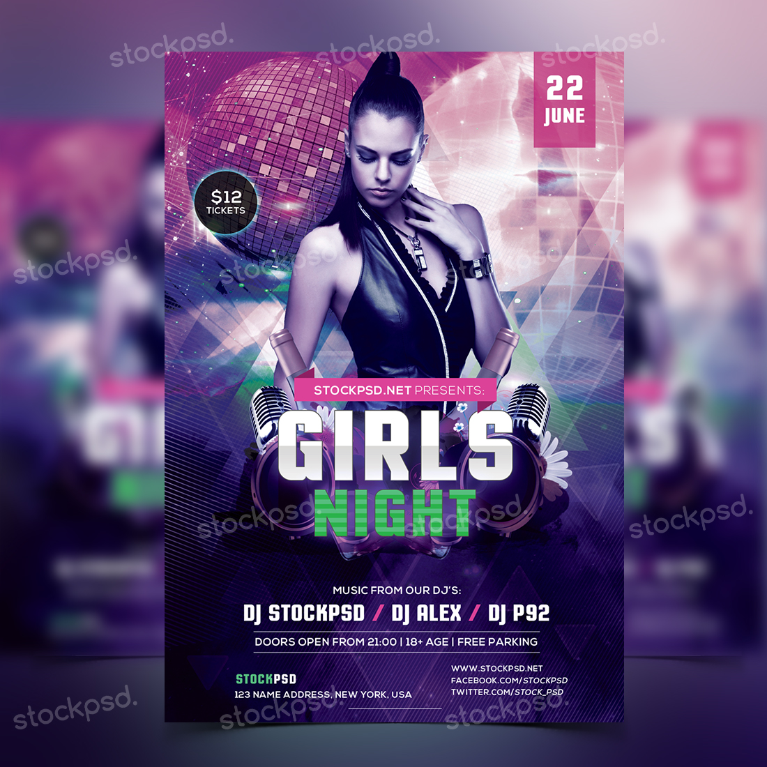 girls night party free psd flyer template stockpsd