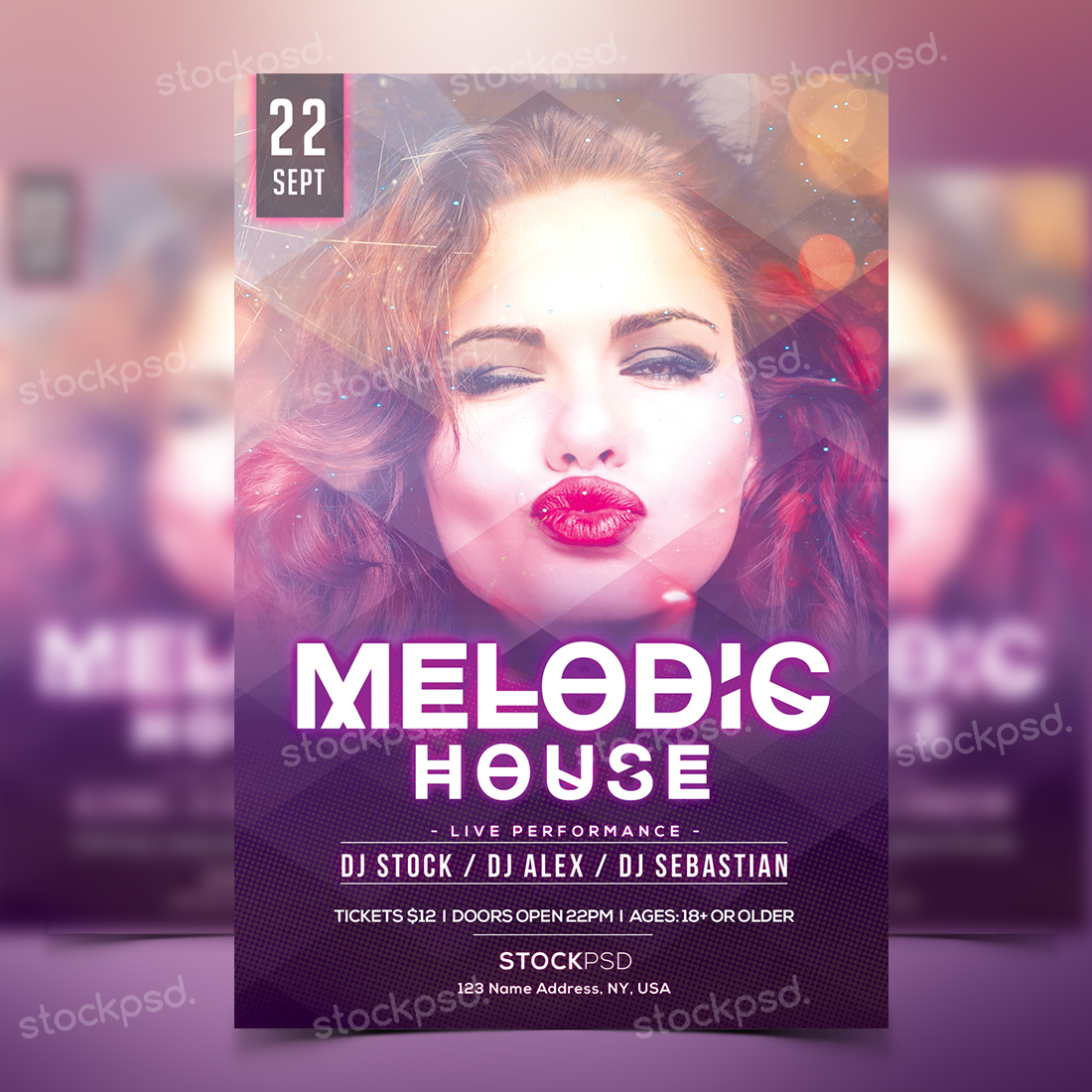 Stockpsd.net | Melodic House - Free Party PSD Flyer Template ...