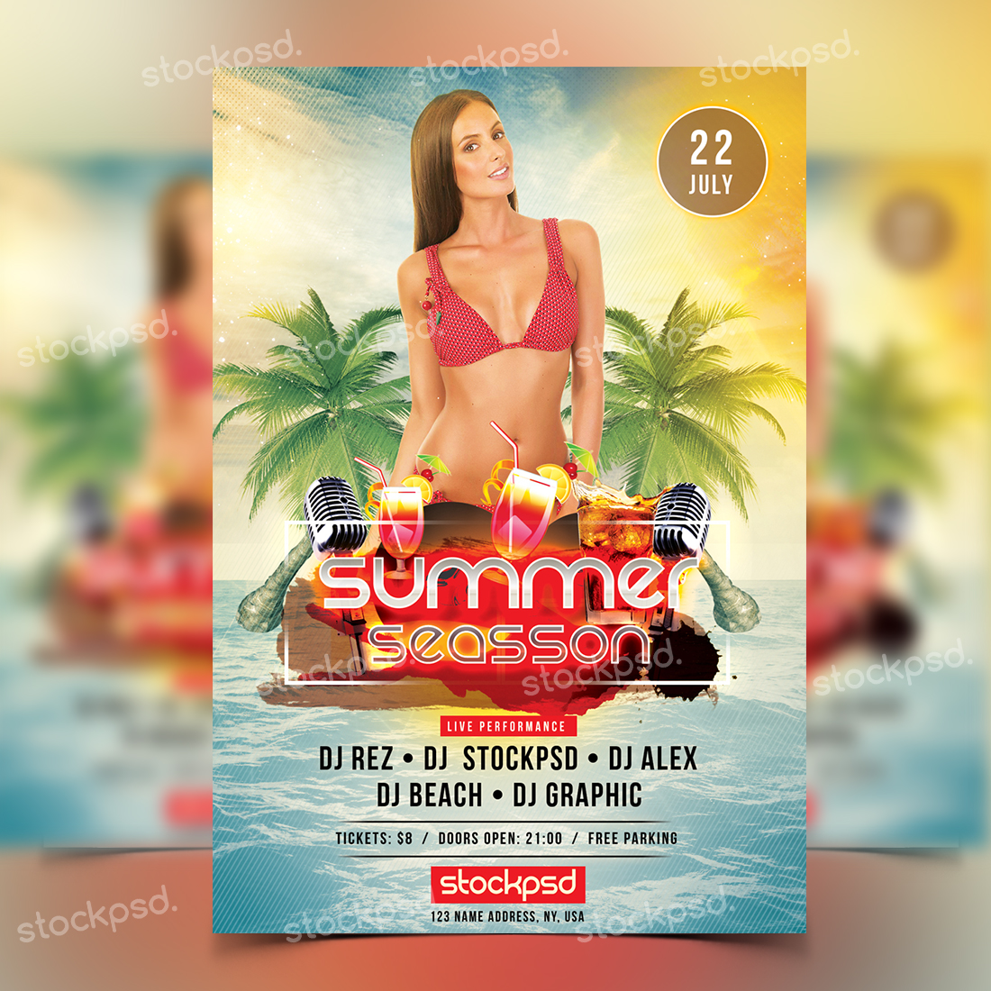 Free Summer PSD Flyers Templates for Clubs & Events - Stockpsd net