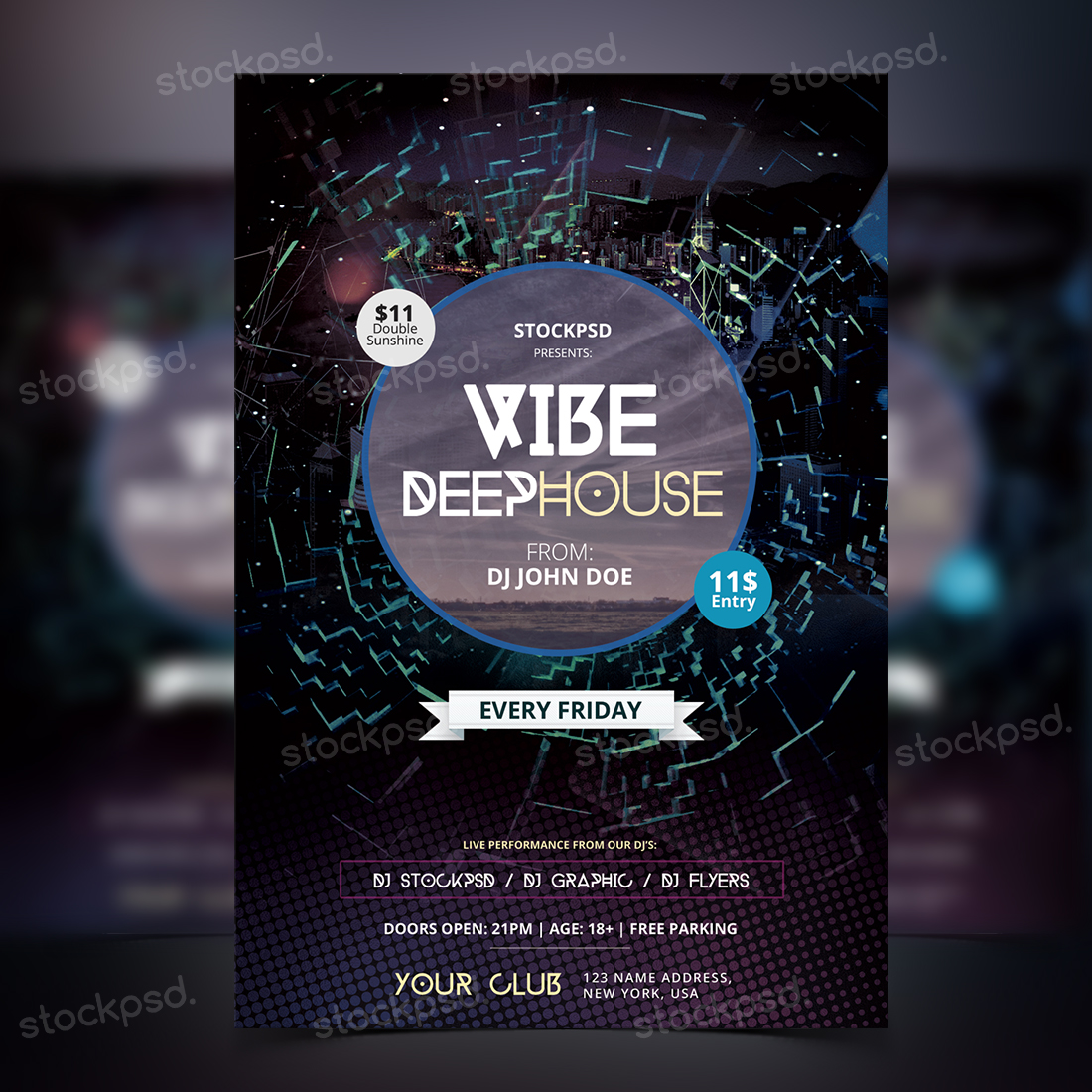 Vibe Deep House – FREE Party PSD Flyer