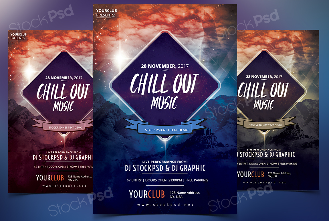 Chillout Music U2013 Free PSD Flyer Template
