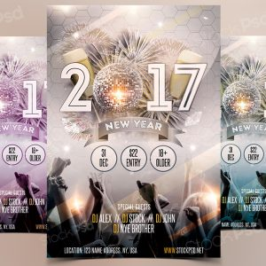 2017 NYE Gold Party - Free PSD Flyer
