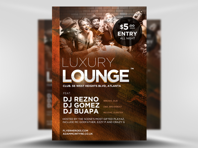 Free Luxury Lounge PSD Flyer Template
