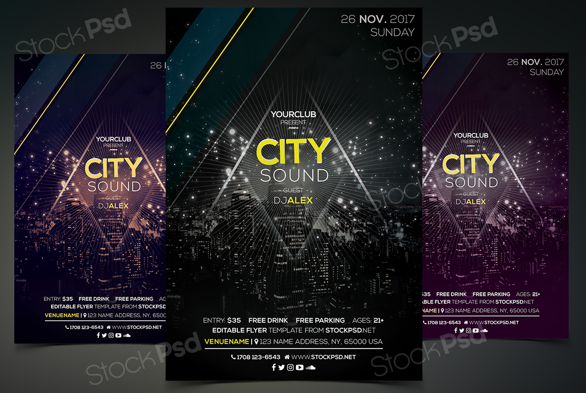 Stockpsd freebie templates city sound free psd event flyer to have an event or a new product from your business you will need a new flyer template this dark flyer is unique creative to use for any musicclub maxwellsz