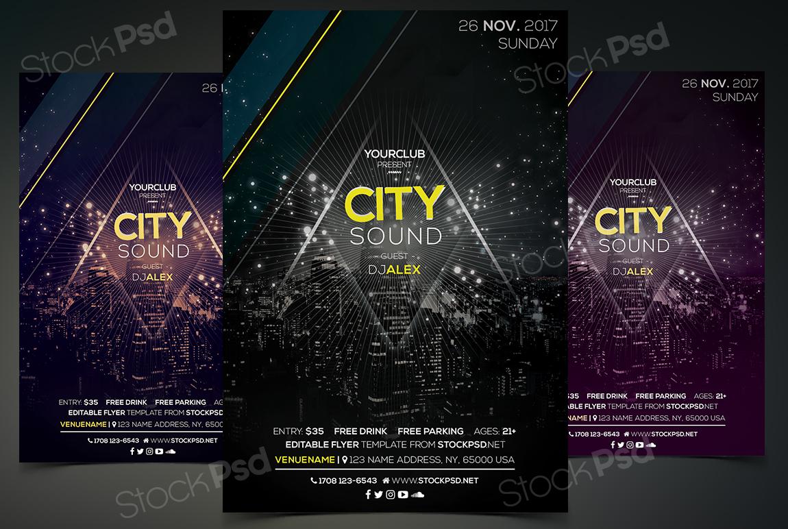 City Sound Free Psd Event Flyer Template Stockpsd