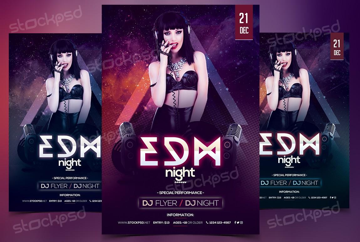 edm night psd flyer template net make