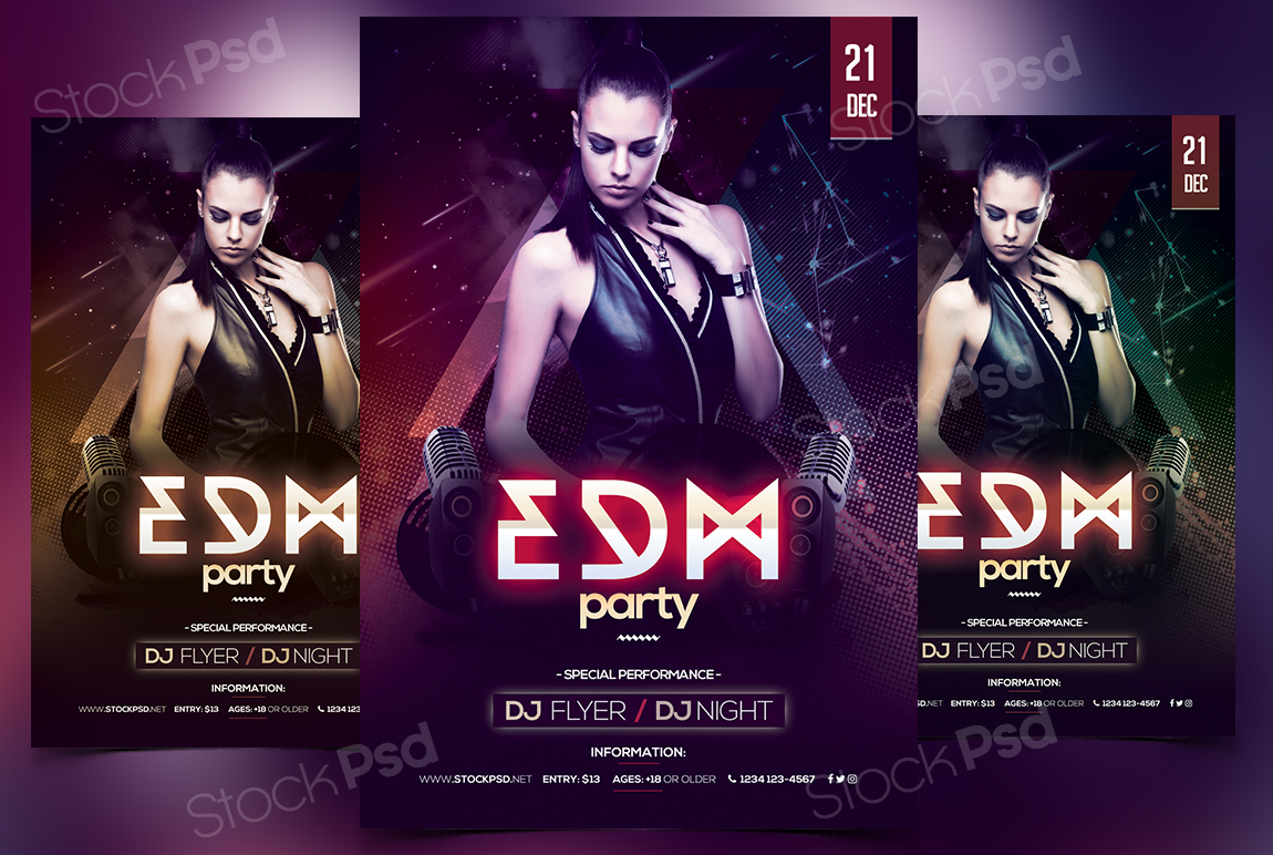 Edm Party Free Psd Flyer Template Stockpsd