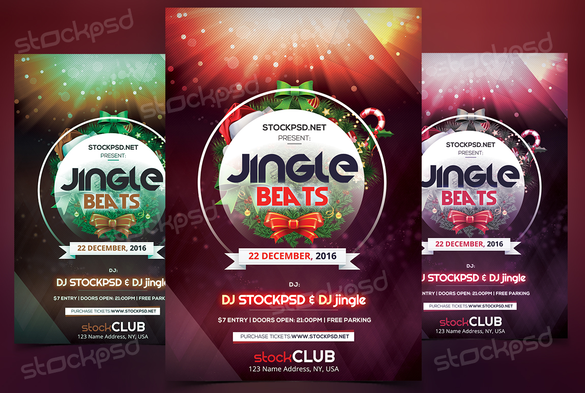 jingle beats christmas psd flyer template holidays