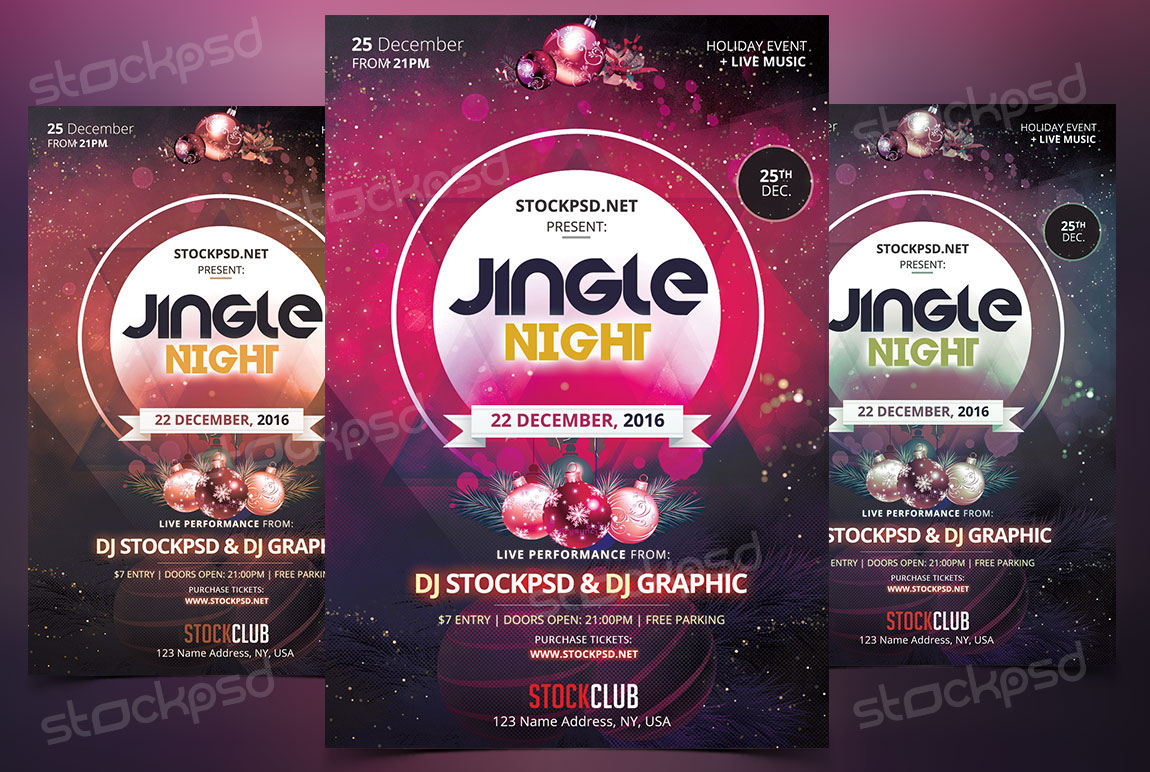 Jingle Night -Download Free Christmas PSD Flyer Template