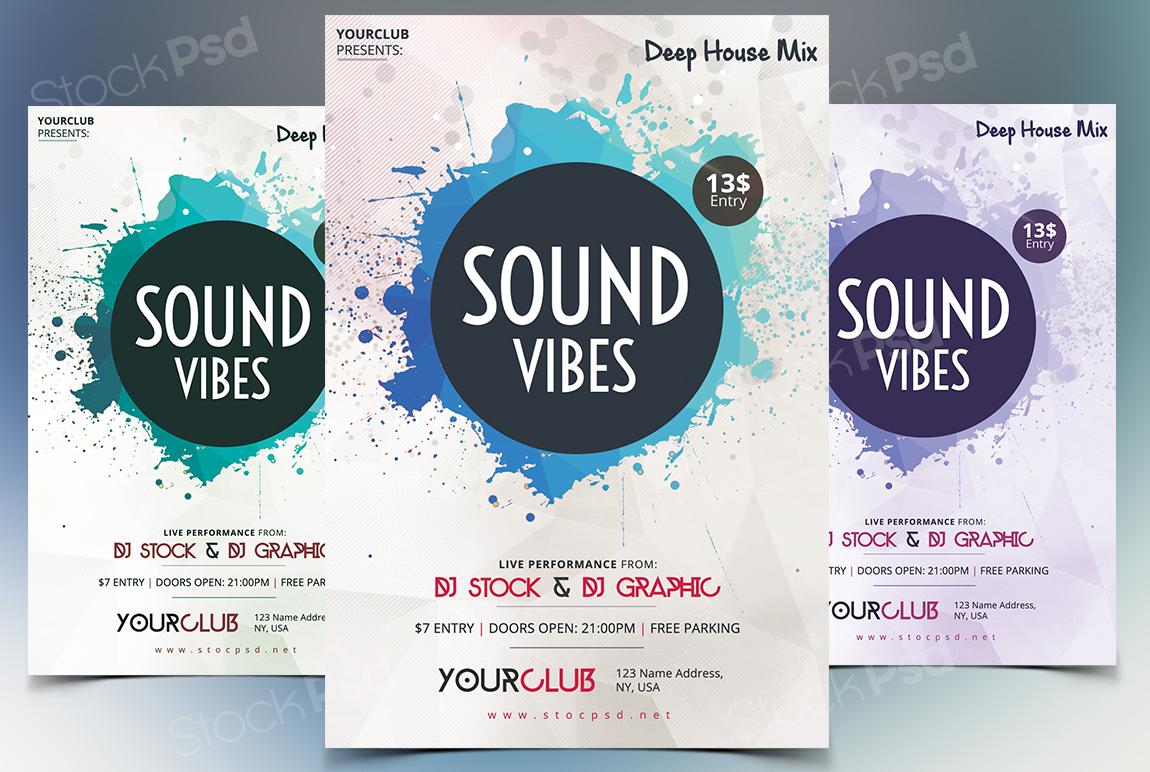 sound vibes psd flyer template stockpsd net