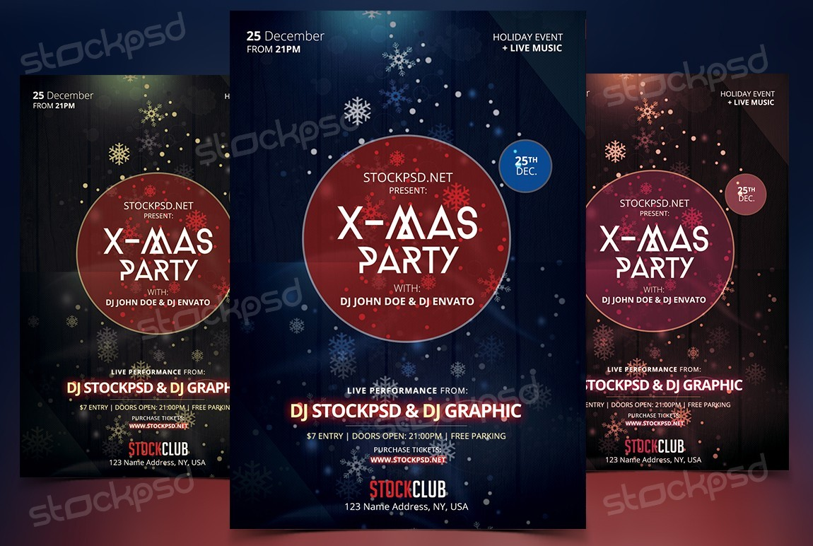 x mas party psd flyer template net is