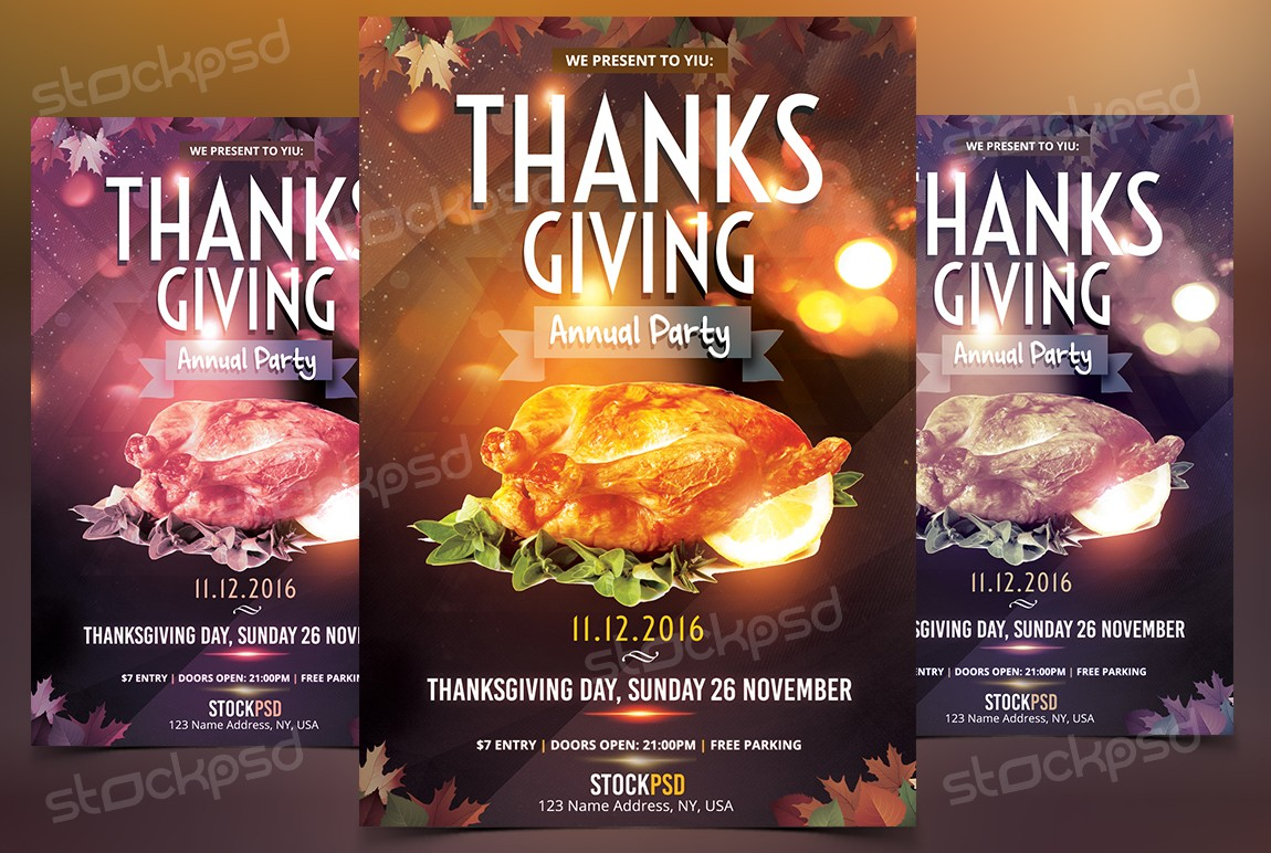 Thanksgiving Annual Party – Free PSD Flyer Template