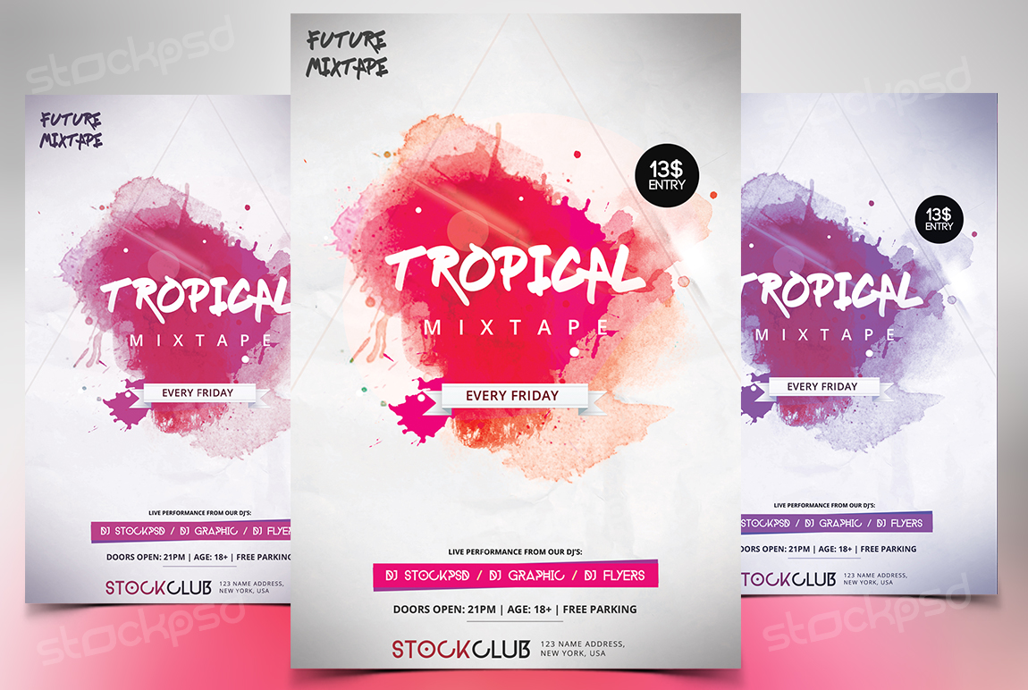 tropical mixtape download free psd flyer template stockpsd
