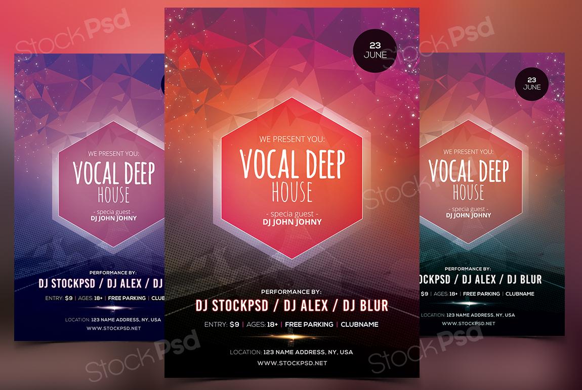 vocal deep house psd flyer template net if