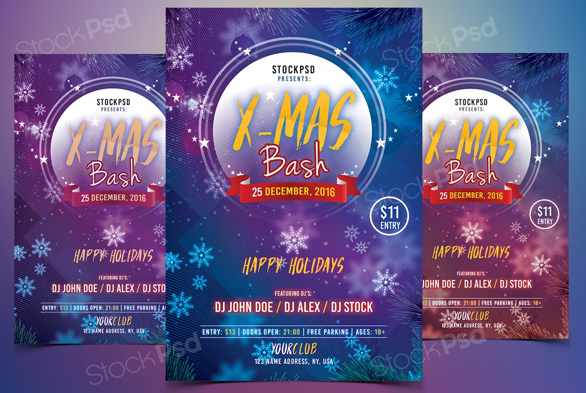 x mas bash psd flyer template net holidays