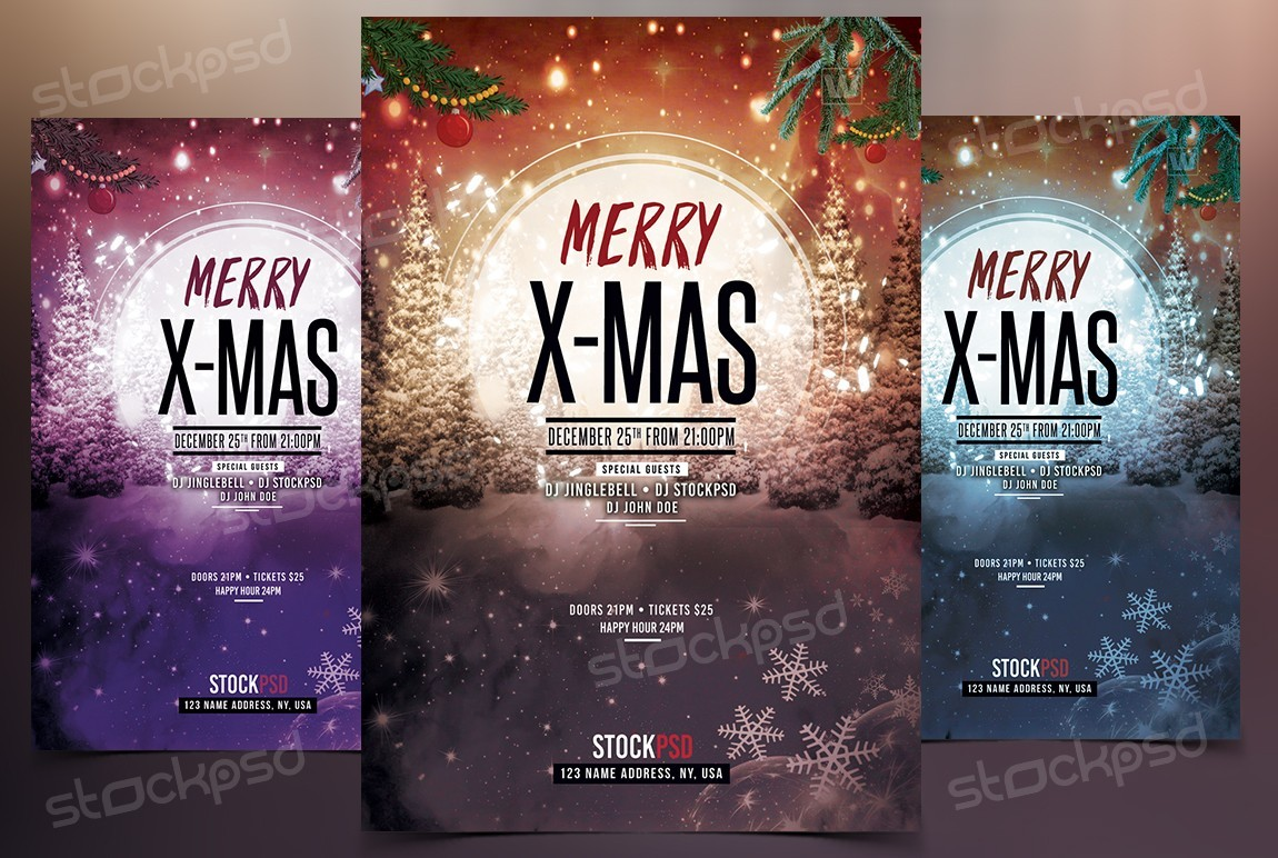 Merry X Mas 2017 Download Free Psd Flyer Template Stockpsd