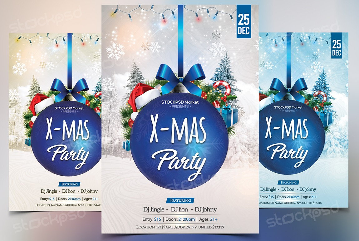 Blue Xmas Party  Download Free PSD Flyer Template
