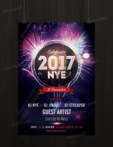 New Years Eve 2017 – Free Party PSD Flyer