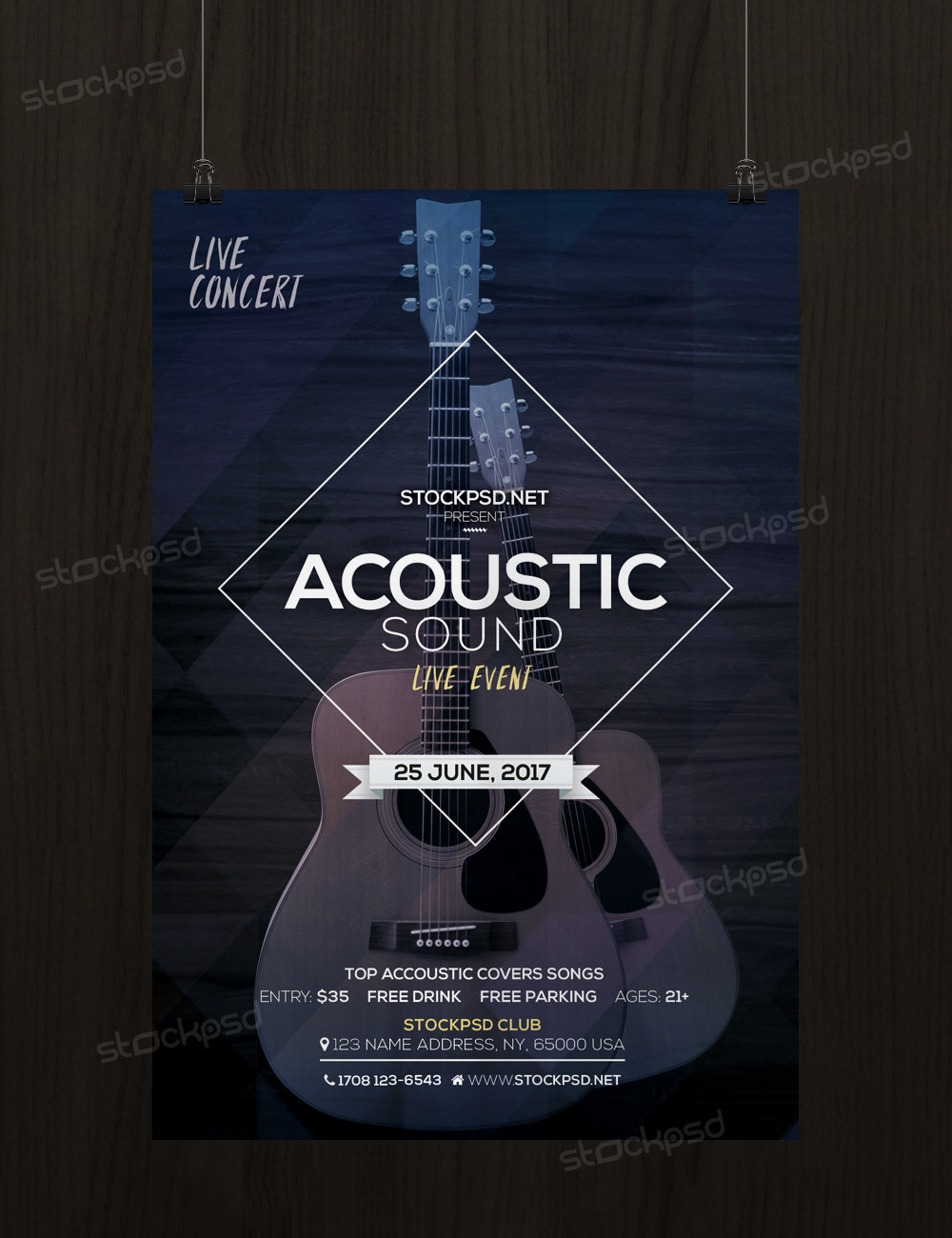 acoustic sound free psd flyer template free psd flyers brochures and more. Black Bedroom Furniture Sets. Home Design Ideas