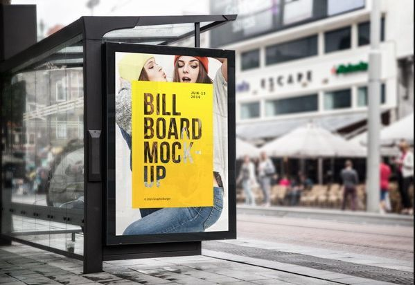 Bus Stop Billboard Free MockUp