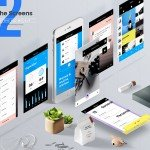 Mobile Application Perspective Mockup Free PSD