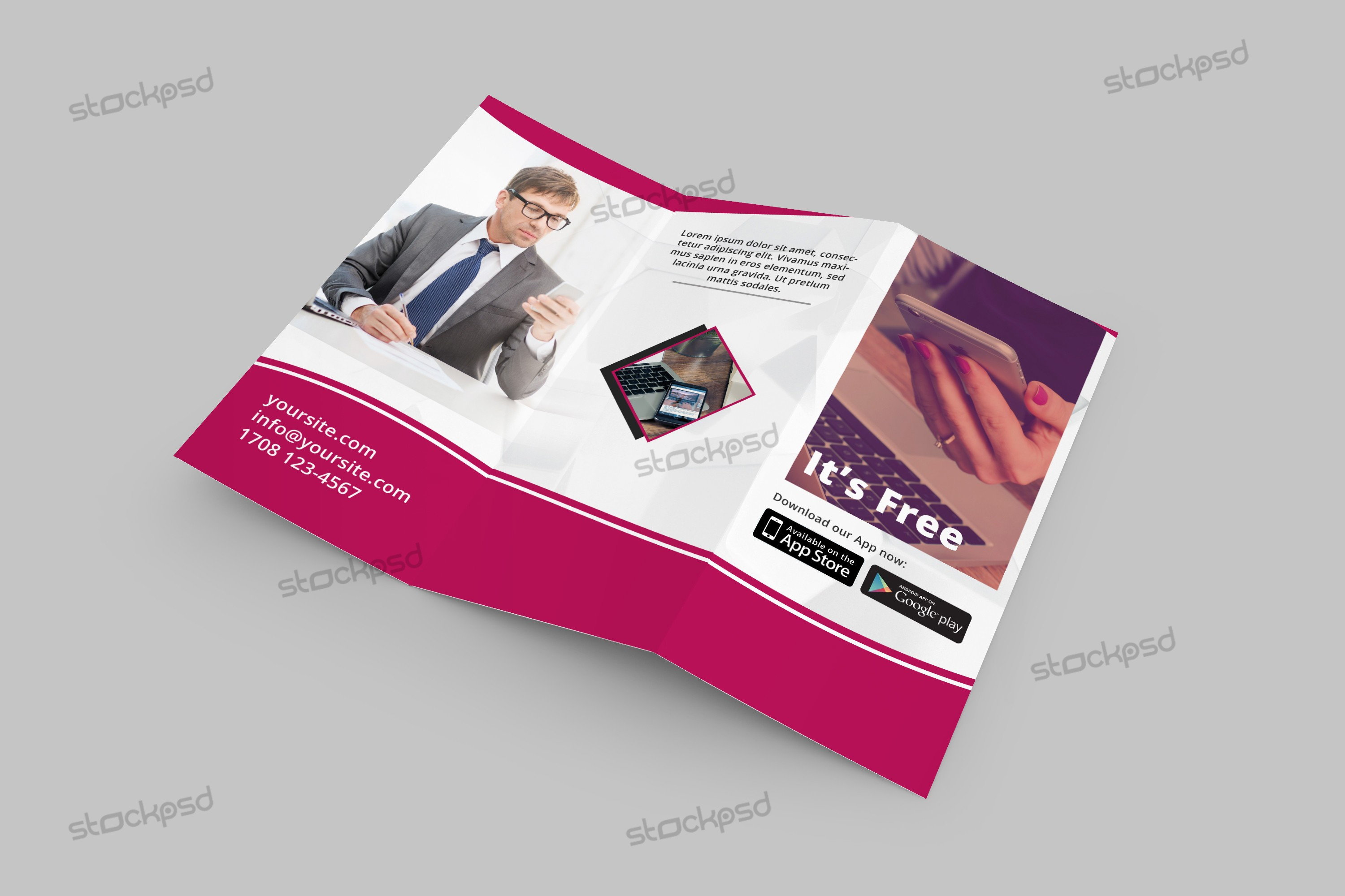 Business Corporate Free TriFold Brochure PSD Template Stockpsd - Tri fold brochure psd template