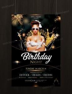 Birthday Gold Night – Free Luxury PSD Flyer Template