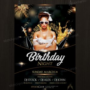 Birthday Gold Night - Free Luxury PSD Flyer Template
