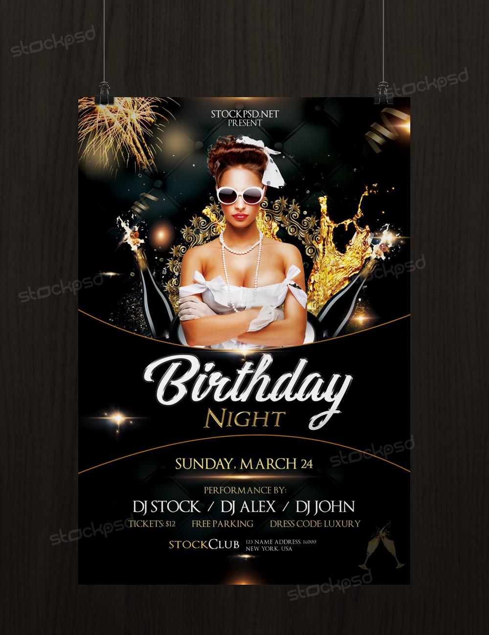 Birthday Gold Night Free Luxury Psd Flyer Template Stockpsd