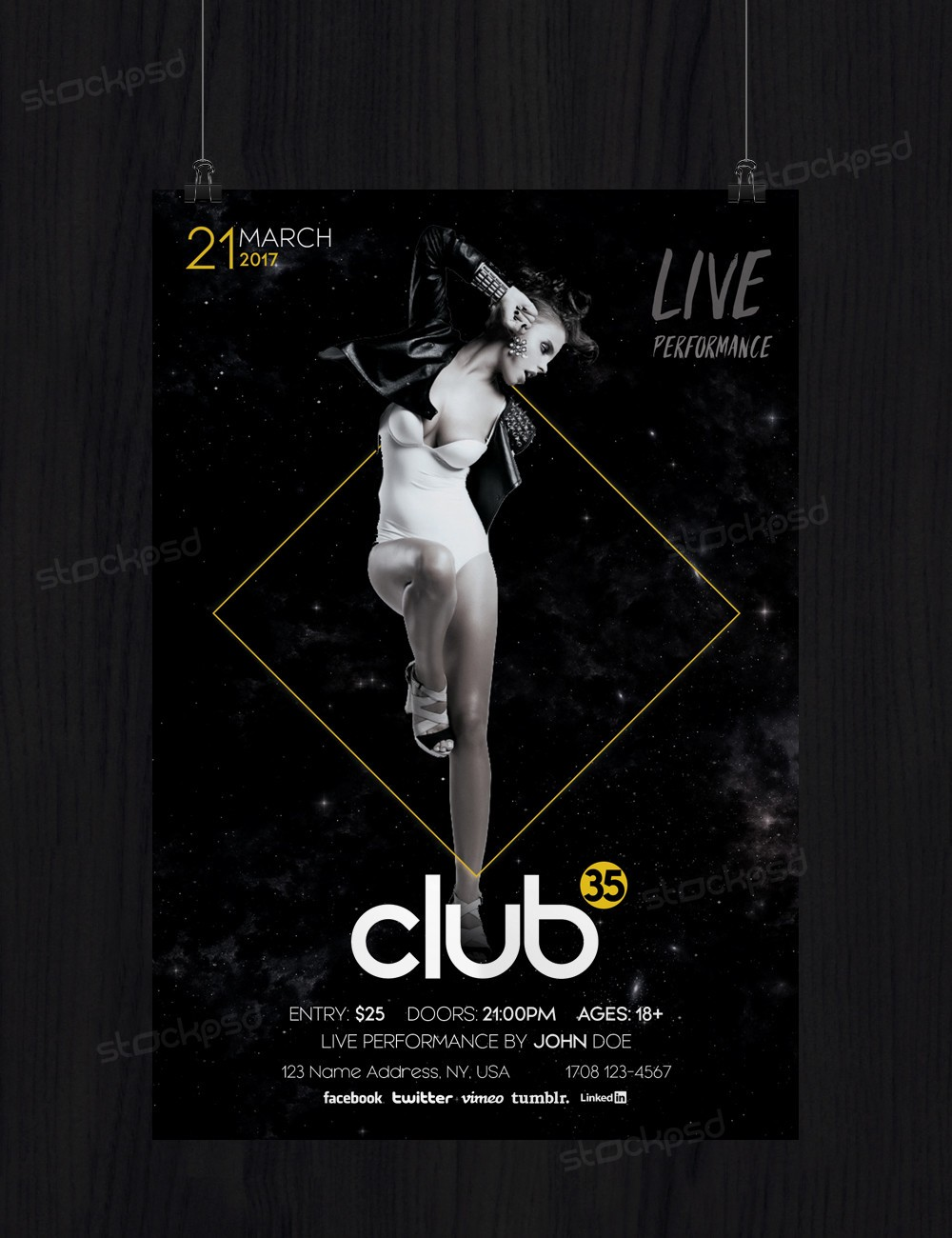 club 35 free psd flyer template stockpsd net