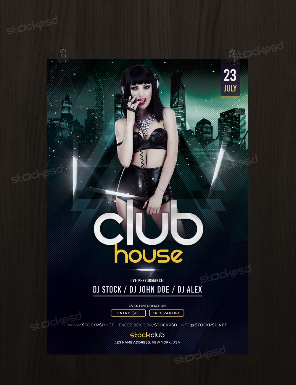 Club house download free psd flyer template stockpsd for Free psd flyer templates