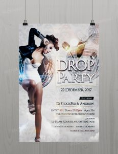Drop Party – Download Free PSD Flyer Template