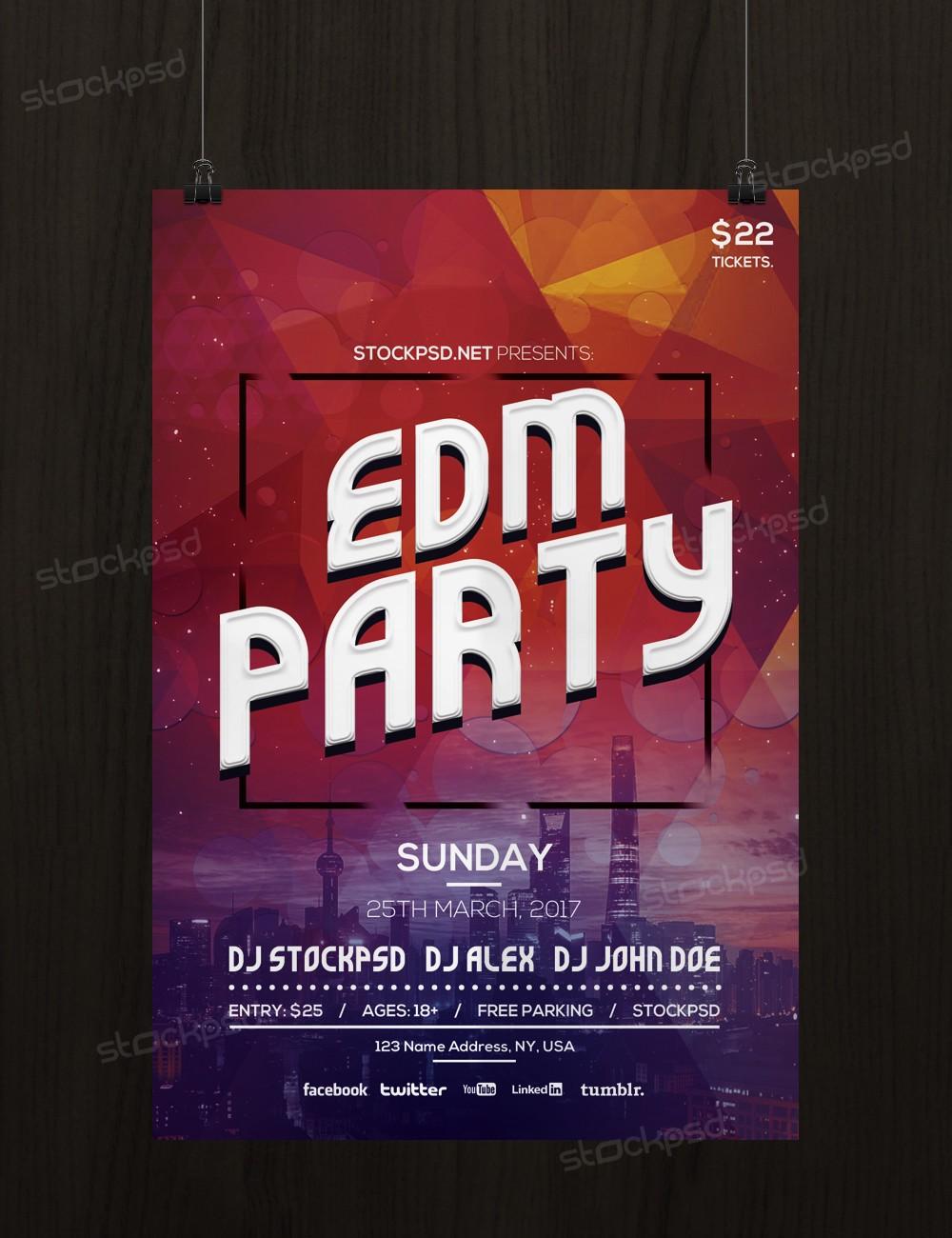 edm party bie psd flyer template net