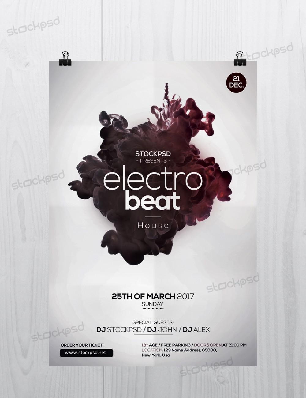 Stockpsd.net – Freebie Templates | Electro Beat - Free PSD Flyer ...