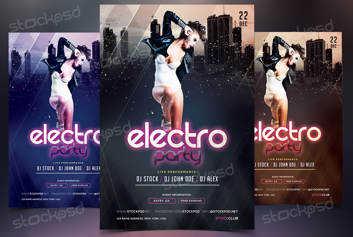 electro party psd flyer template net