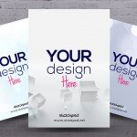 3in1 Free PSD Mockup for Flyers & Posters