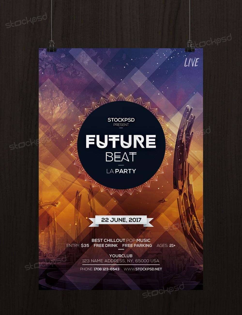 Future Beat – Free Futuristic PSD Flyer Template