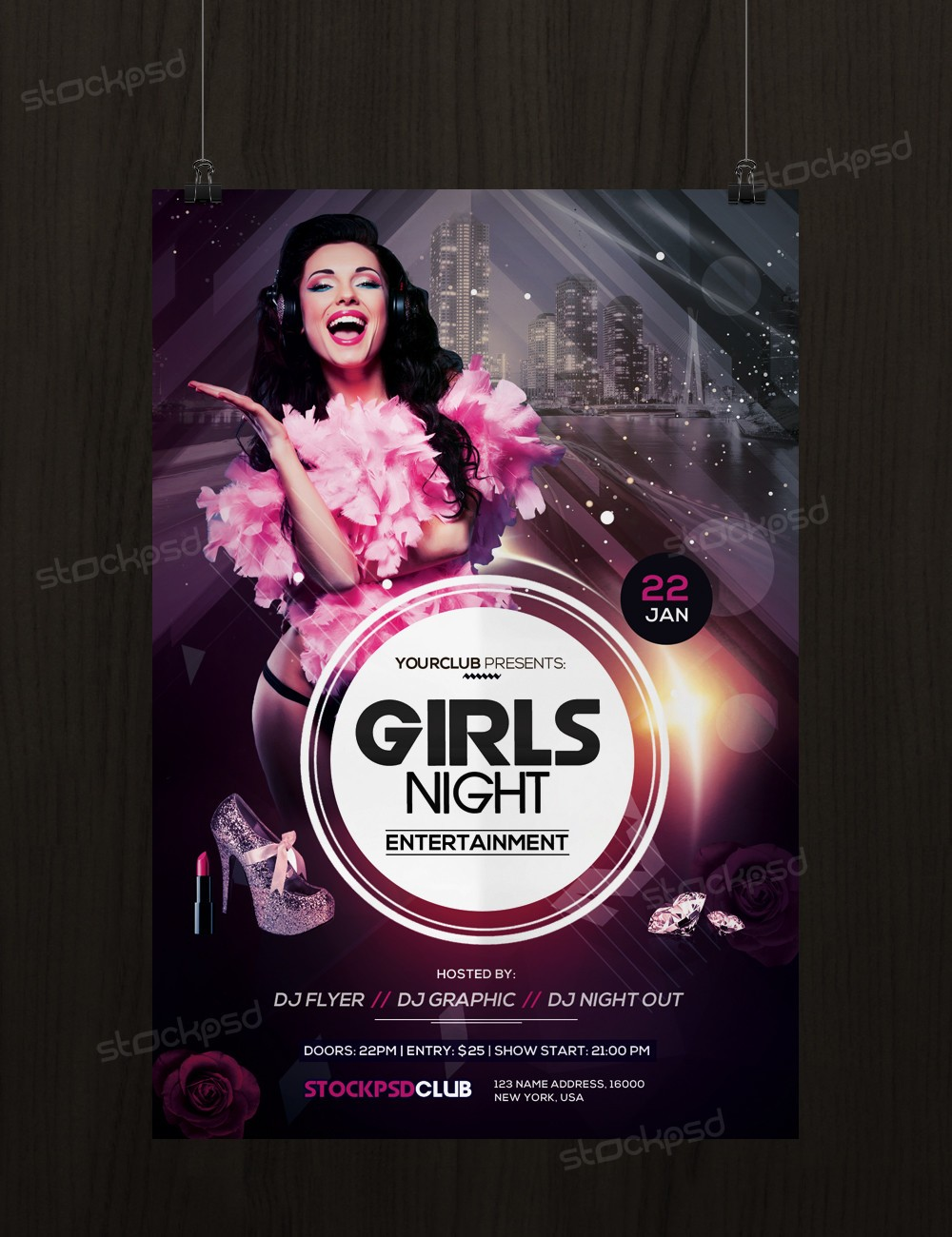Girls Night – Free PSD Flyer Template