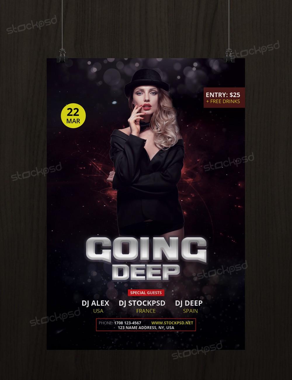going deep psd flyer template net find