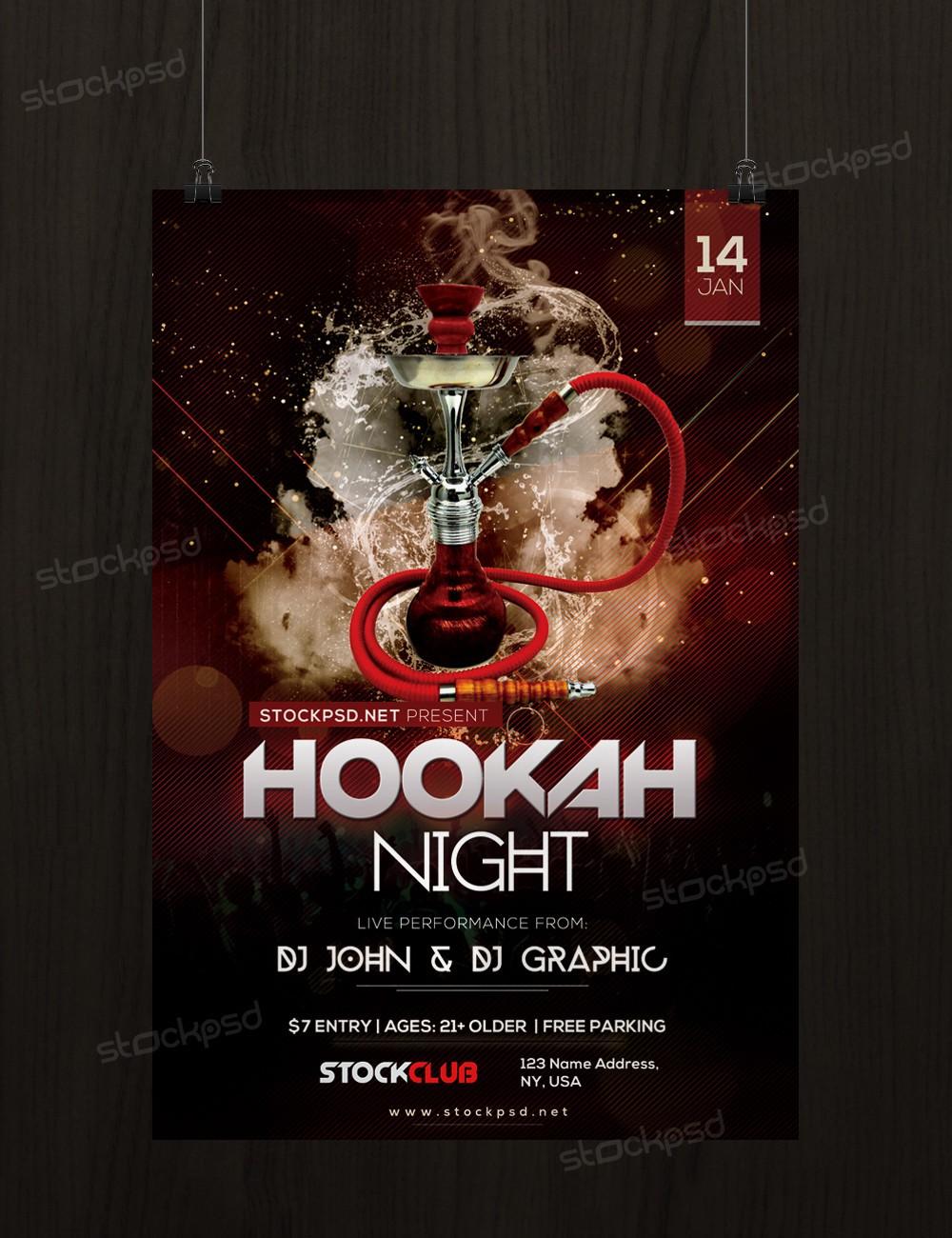 hookah night psd flyer template net