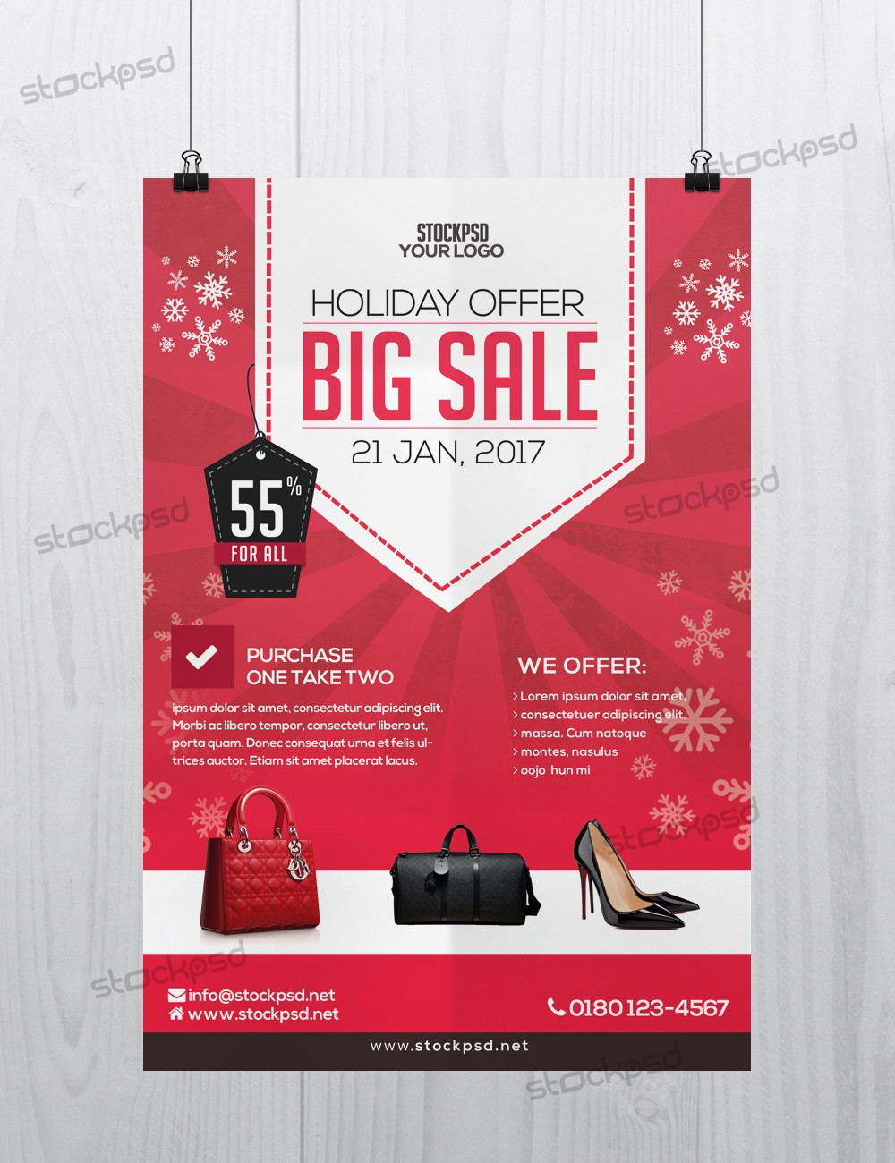 holiday 2017 big sale free psd flyer template free psd flyers brochures and more. Black Bedroom Furniture Sets. Home Design Ideas
